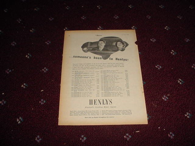 1955 Henlys Motor Agents ad #3 from the UK