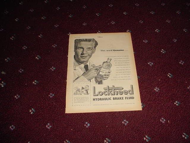 1952 Lockheed Brake Fluid ad from the UK
