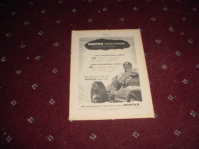 1952 Mintex Brake Liners ad #2 from the UK