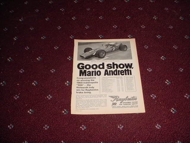 1969 Raybestos Brakes ad featuring Mario Andretti
