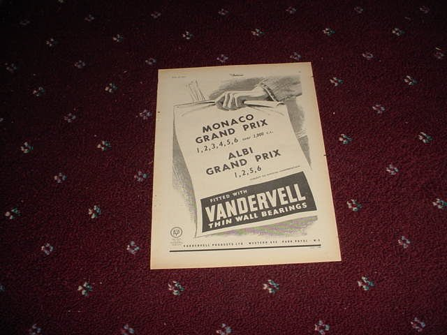 1952 Vandervell Bearings ad #5 from the UK