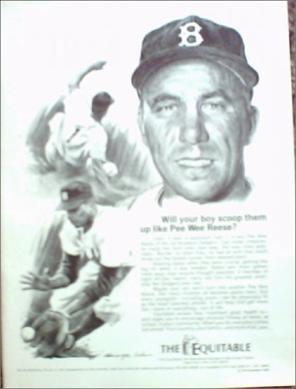 1969 Equitable Life Insurance ad featuring Pee Wee Reese