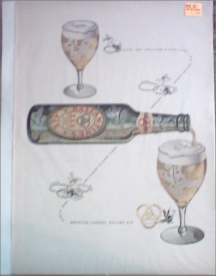 Ballantine Ale Bottle Pouring ad