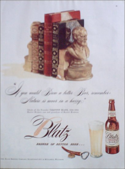 1946 Blatz Beer Bookends ad