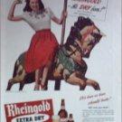 1945 Rheingold Beer ad featuring Miss Rheingold Pat Boyd