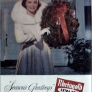 1953 Rheingold Beer Christmas ad featuring Miss Rheingold Mary Austin