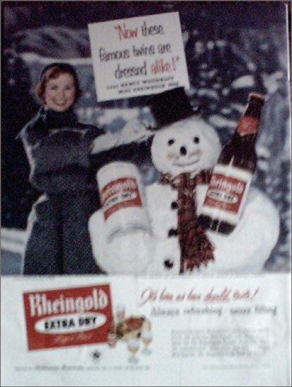 1955 Rheingold Beer Christmas ad featuring Miss Rheingold Nancy Woodruff