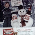 1955 Rheingold Beer Christmas ad featuring Miss Rheingold Nancy Woodruff