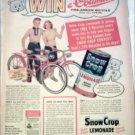 Snow Crop Lemonade Columbia Bicycle Contest ad featuring Teddy Snow Crop