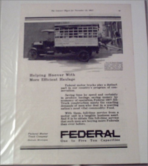1917 Federal Truck ad #1