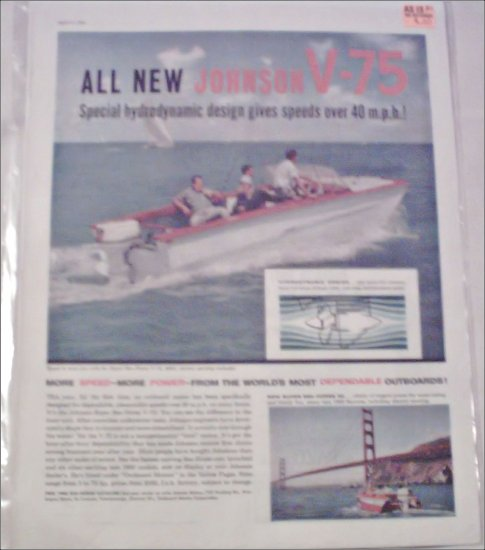 1960 Johnson Sea-Horse V-75 Motor ad