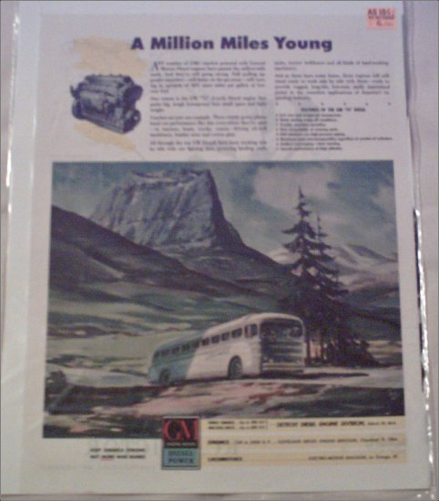 1942 GMC Diesel ad featuring Greyhound Bus Lines
