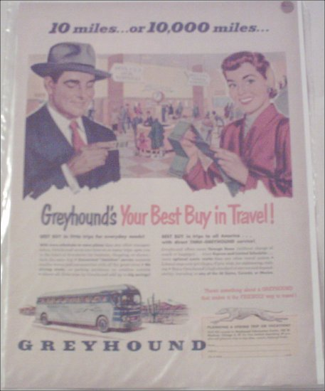 Greyhound Bus Lines 10 Miles or 10,000 Miles ad