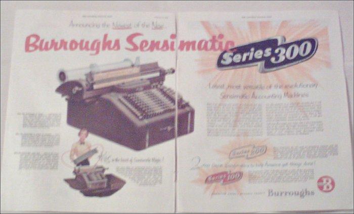 1952 Burroughs Sensimatic Series 300 Accounting Machine ad