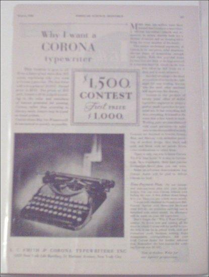 1930 Corona Typewriter Contest ad
