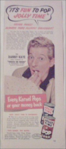 Jolly Time Popcorn ad featuring Danny Kaye
