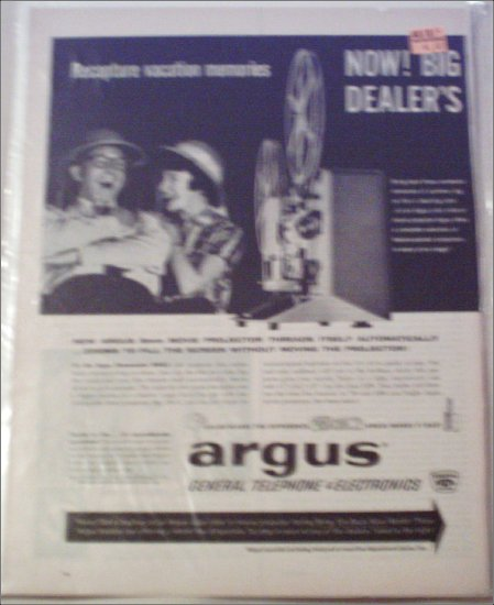1962 Argus 8 mm Movie Projector & Electromatic Slide Projector ad