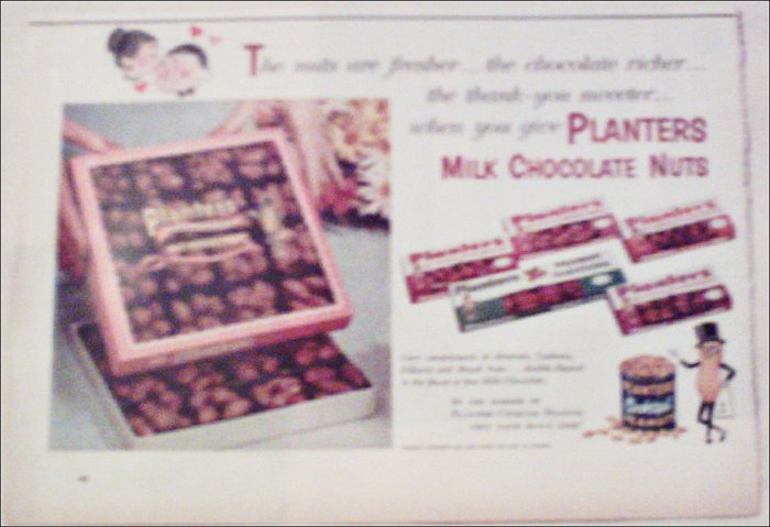 1958 Planters Milk Chocolate Nuts ad