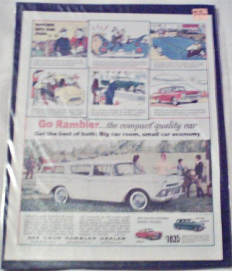 1959 American Motors Rambler American 4 dr stationwagon car ad white