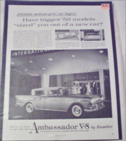 1959 American Motors Ambassador V8 4 dr sedan car ad