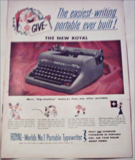 1952 Royal Portable Typewriter Christmas ad