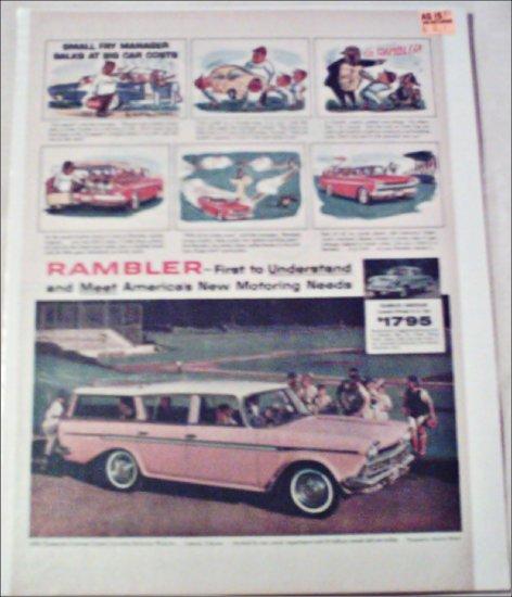 1960 American Motors Rambler Custom CC stationwagon car ad pink