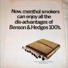 1967 Benson & Hedges Menthol 100's Cigarette ad