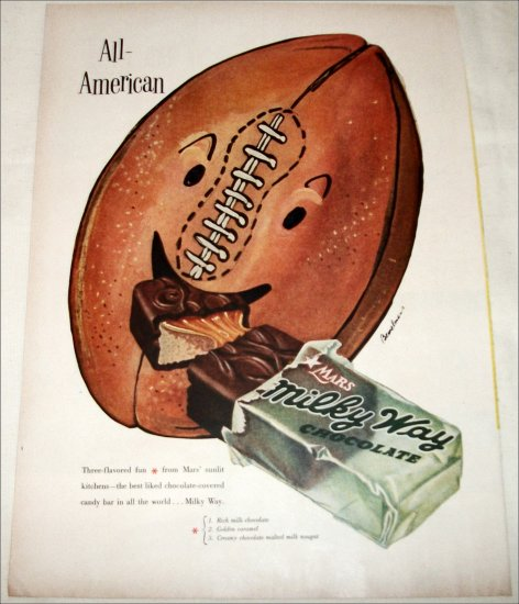 1953 Milky Way Candy Bar All American ad