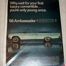 1966 American Motors Ambassador 990 convertible car ad green