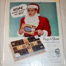 1955 Page & Shaw Par Excellence Chocolates Christmas ad with Bob Hope