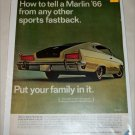1966 American Motors Rambler Marlin car ad green