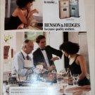 1989 Benson & Hedges 100's Cigarette Cooking ad