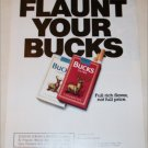1990 Bucks Cigarette Flaunt Your Bucks ad