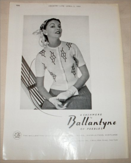 1953 Ballantyne Cashmere ad from Great Britain