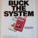 1990 Bucks Cigarette Buck the System ad