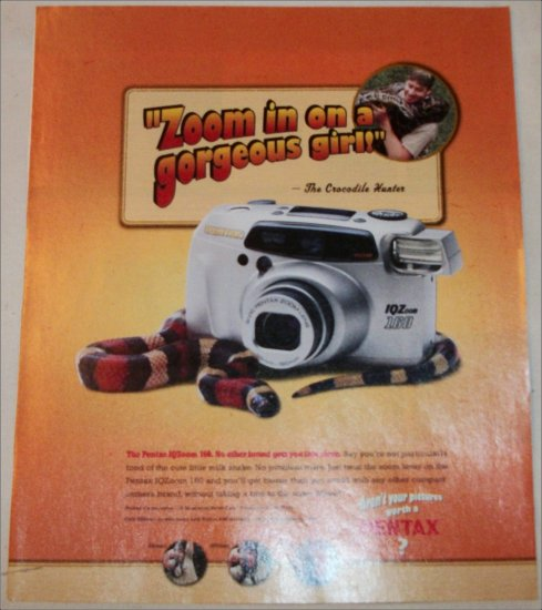 2000 Pentax IQZoom160 Camera ad featuring The Crocodile Hunter Steve Irwin