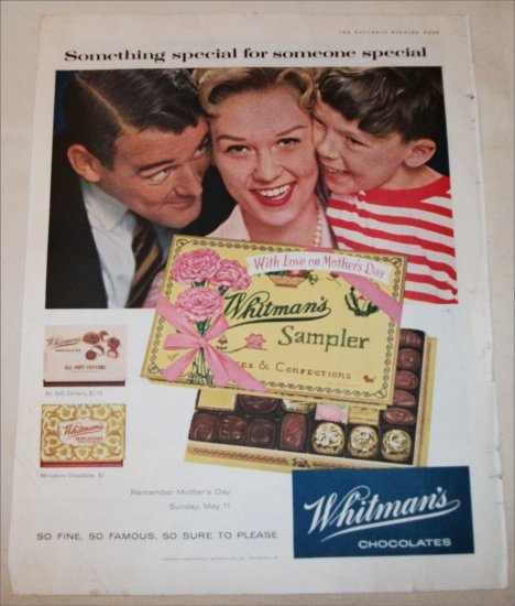 1958 Whitman's Sampler Chocolates Mothers Day ad