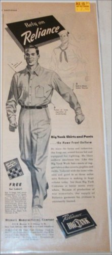 1944 Big Yank Home Front Uniform ad