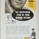 1956 Mayflower Warehouses ad featuring Alan Ladd