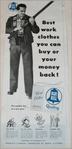1952 Blue Bell Men's Work Clothes ad