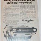 1970 American Motors AMX car ad b & w