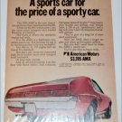 1970 American Motors AMX car ad red & white back