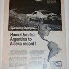1970 Champion ad featuring American Motors Hornet 2 dr sedan