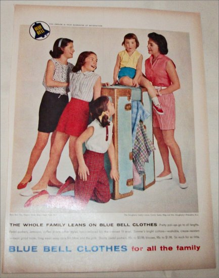 1959 Blue Bell Clothes ad featuring Daugherty Family of Princeton New Jersey