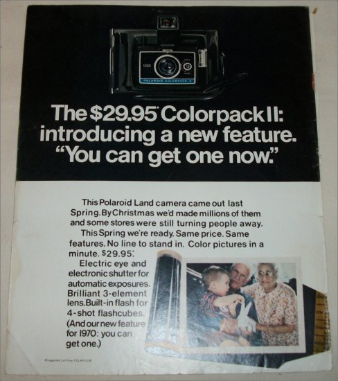 1970 Polaroid Colorpack II Camera Grandparents ad