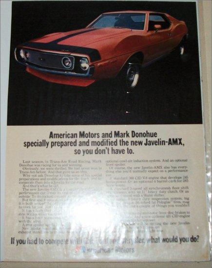 1971 American Motors Donohue Javelin-AMX 2 dr ht car ad