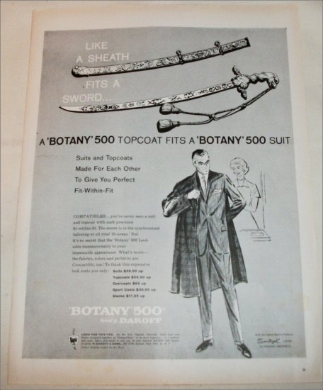 1959 Botany 500 Topcoat & Suit ad
