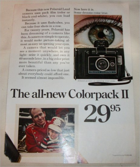 1970 Polaroid Colorpack II Camera Band ad