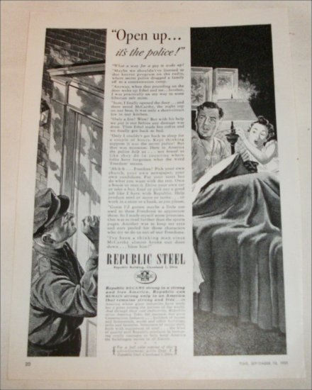 1951 Republic Steel Police ad