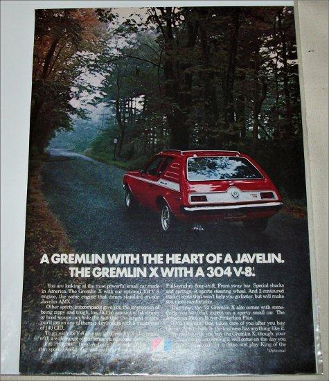 1972 American Motors Gremlin X car ad red